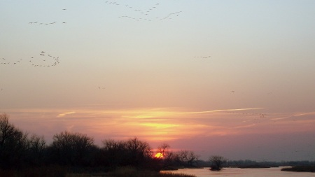 Atardecer en el río Platte.
