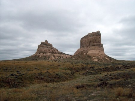 Courthouse and Jail Rocks, Brideport, NE.