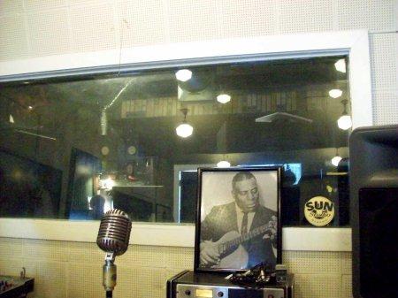 Micro y sala de grabación de Sun Records.